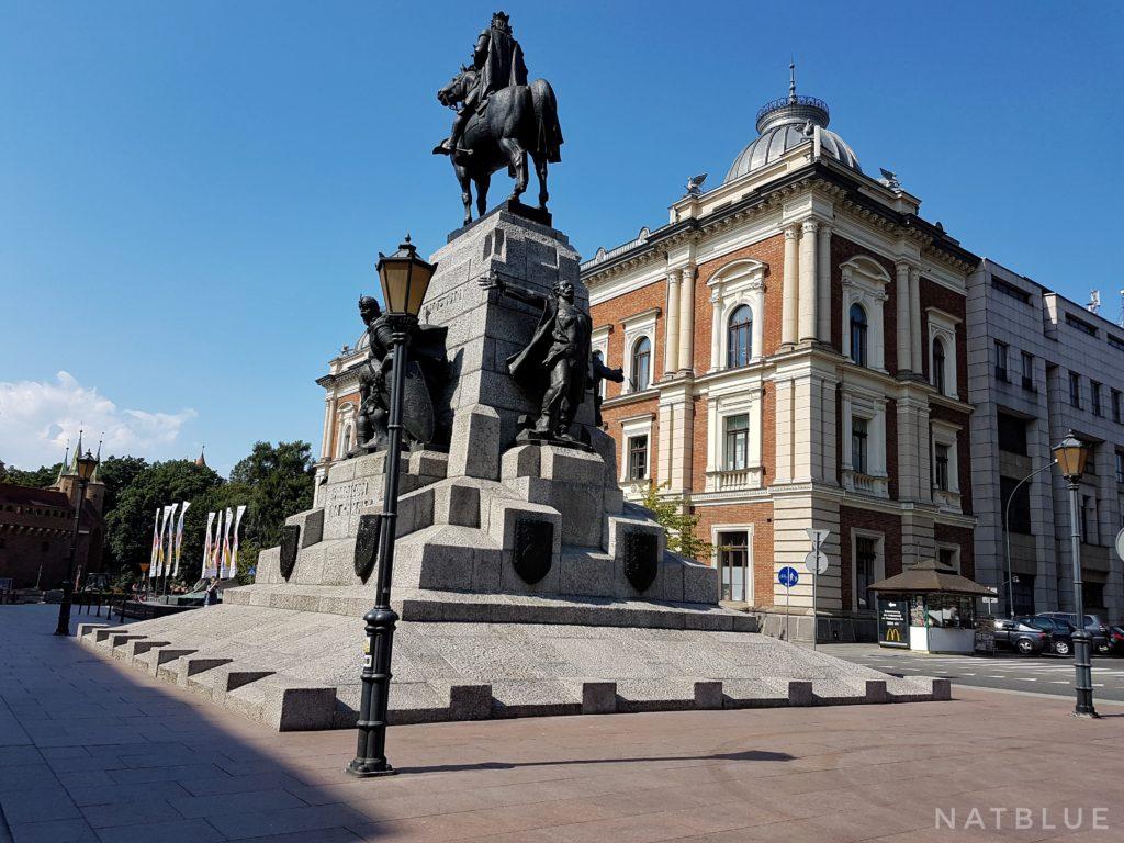 Kraków, Cracow, Droga Królewska, Plac Jana Matejki, Pomnik Grunwaldzki, konny posąg, król Władysław Jagiełło, Grób Nieznanego Żołnierza.